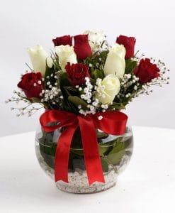Aşk Küresi Kırmızı Beyaz Güller – 2