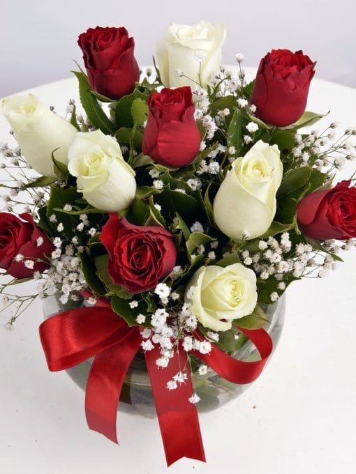 Aşk Küresi Kırmızı Beyaz Güller – 4
