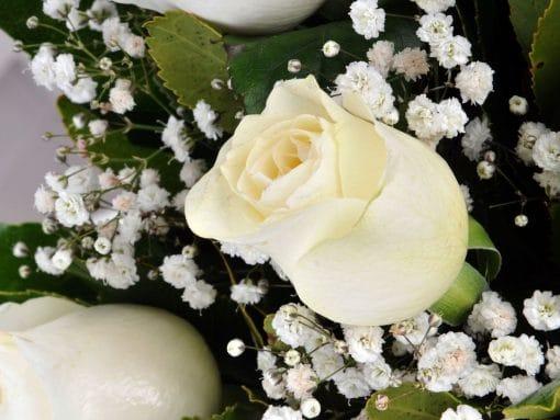 Gülen Gözler Camda 5 Beyaz Gül – 5
