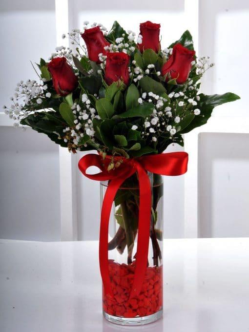 Gün Batımı 5 Kırmızı Gül Çiçek Arajmanı – 2