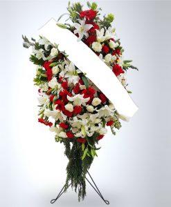 Kırmızı ve Beyaz Çiçeklerden Ferforje