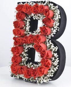 Kişiye Özel Kırmızı Güllerden Baş Harf